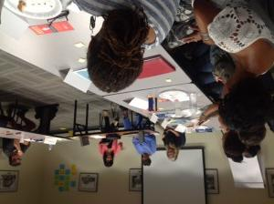 Lyn Goldfarb, Lorraine Bradley, and Alison Sotomayor speak to educators at Race and Membership seminar, July 2014.