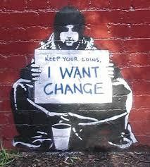Begging For Change, stencil by street artist Meek